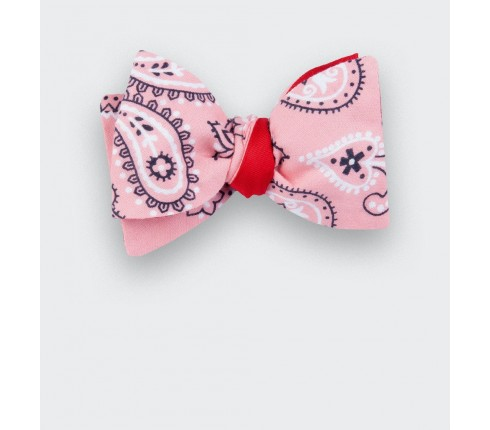 Pink bandana bow tie - cotton - cinabre paris