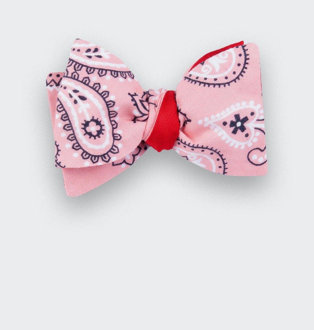 Noeud papillon Bandana rose - coton - cinabre paris