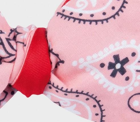 Pink bandana bow tie - cotton - cinabre paris