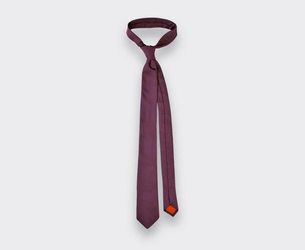 Raspberry Birdseye silk Tie - cinabre paris