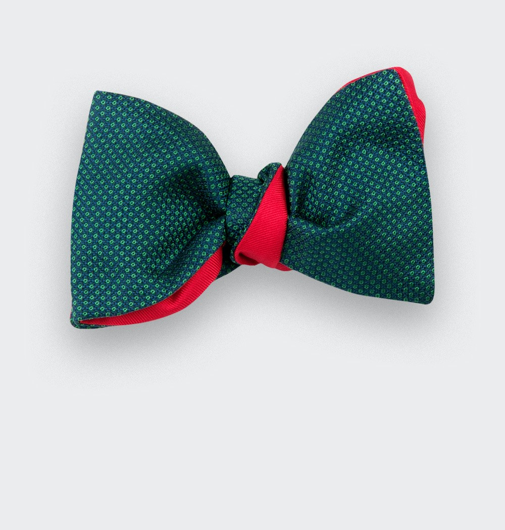 green Birdseye silk bow tie - cinabre paris