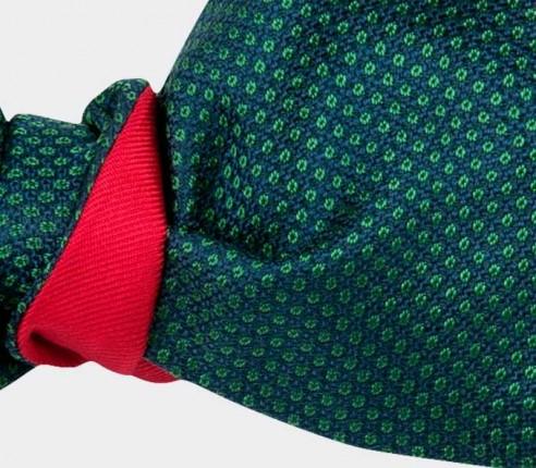 green Birdseye silk bow tie - cinabre paris