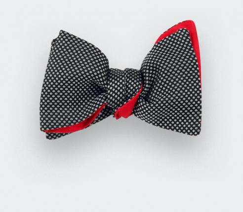 Black and white Birdseye silk bow tie - cinabre paris