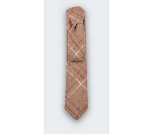 Tweed Beige Squares Tie - cinabre paris