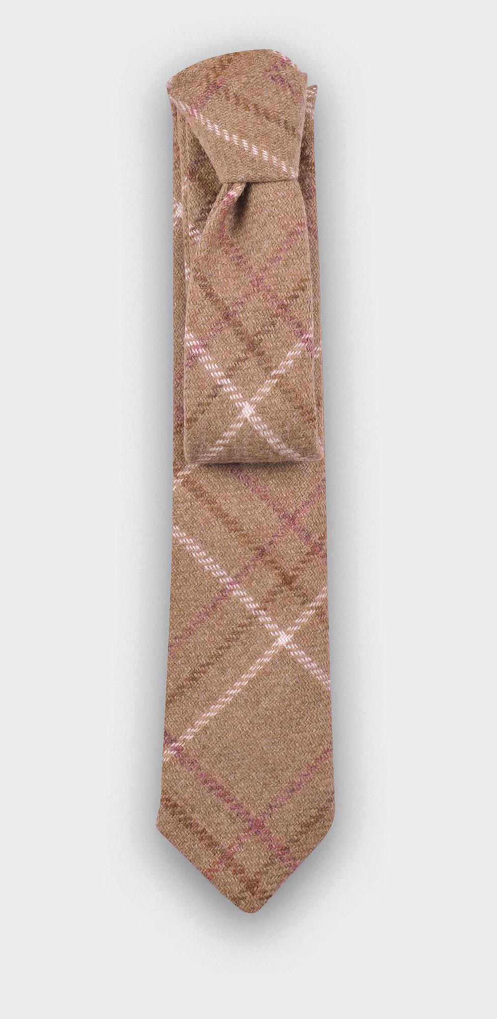 Cravate Tweed Carreaux Beige - cinabre paris