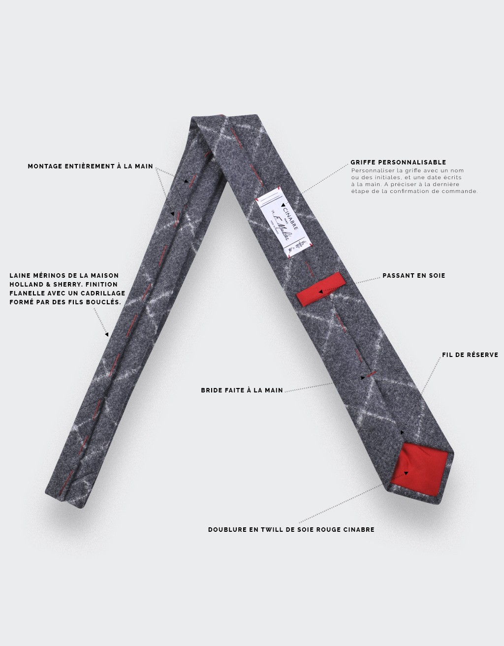 Cravate flanelle carreaux gris - cinabre paris