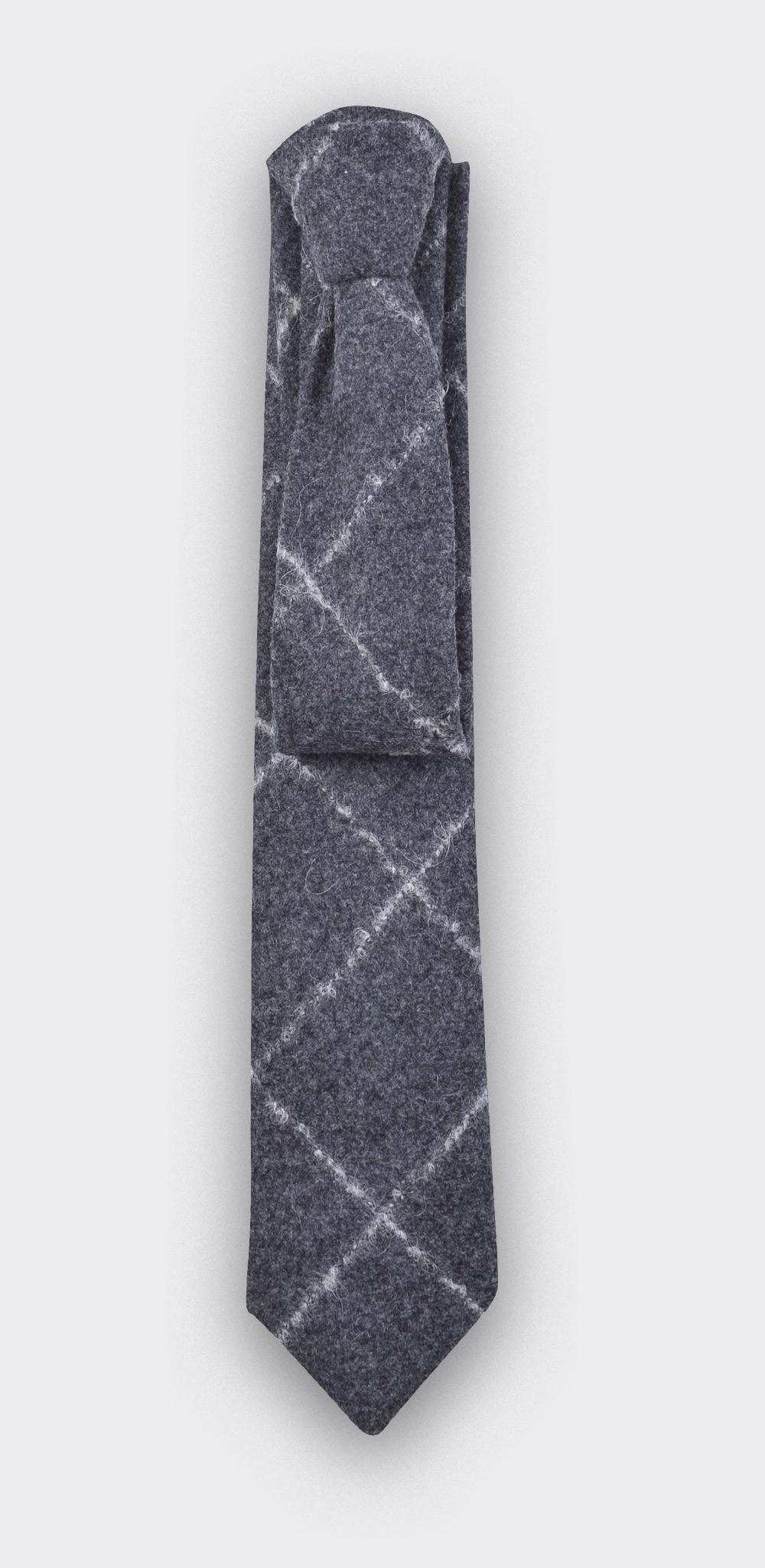 Grey Flannel windowspane tie - cinabre paris