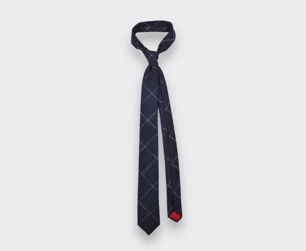 Cravate flanelle carreaux marine - cinabre paris