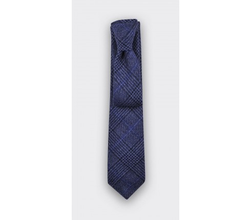 Navy Blue Prince of Wales tie - cinabre paris