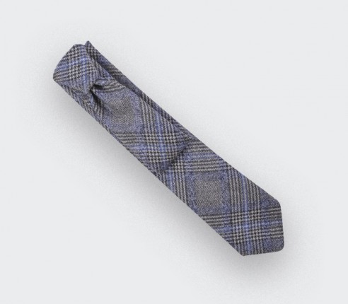 Blue glen plaid tie - cinabre paris