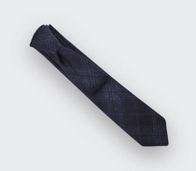 Dark Blue glen plaid tie  - cinabre paris