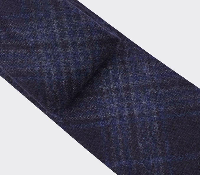 Dark Blue glen plaid tie  - cinabre paris