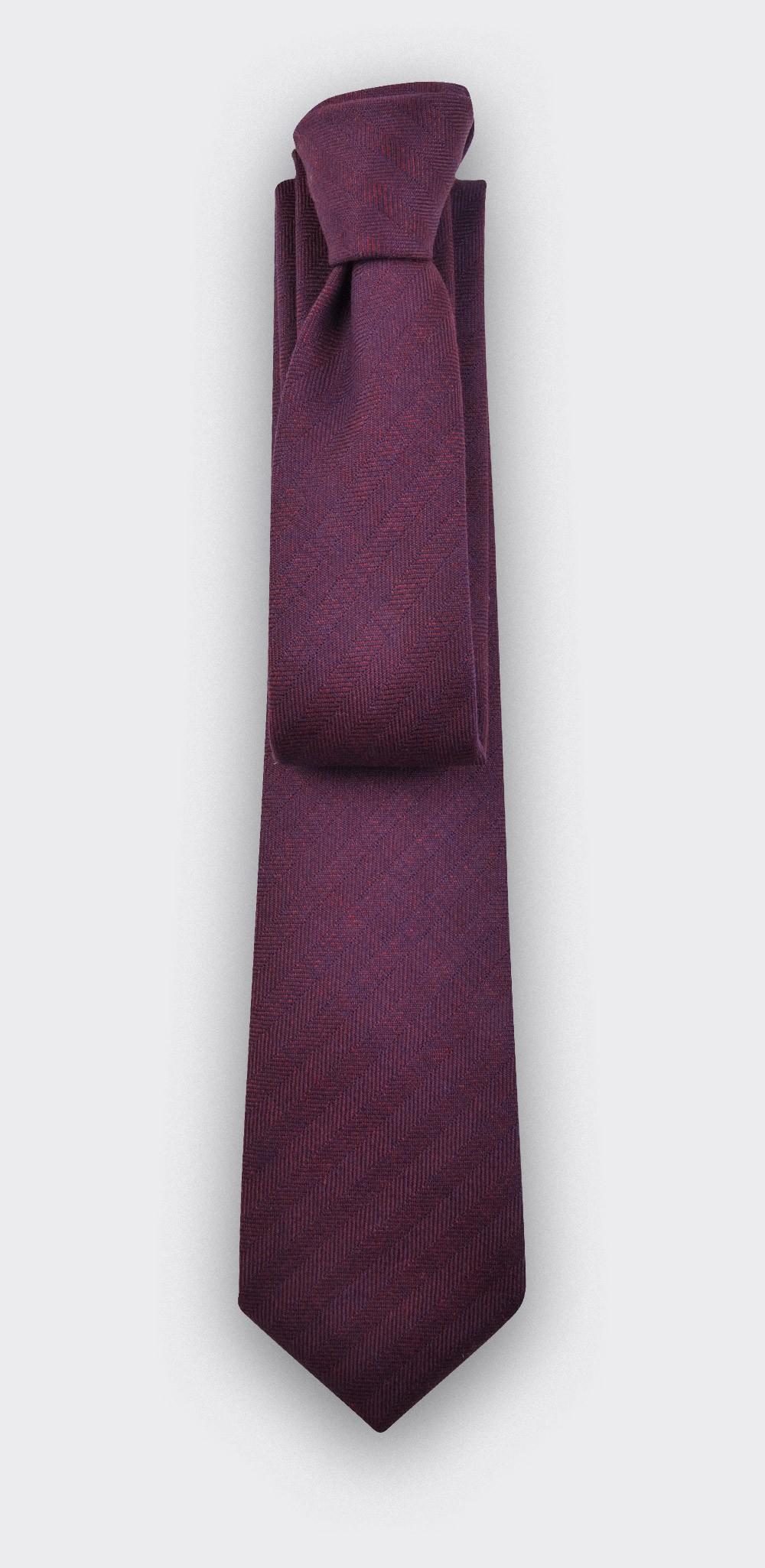 Burgundy Herringbone Tie - cinabre paris