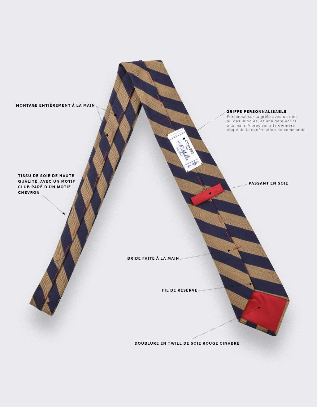 Brown Club herringbone tie - cinabre paris