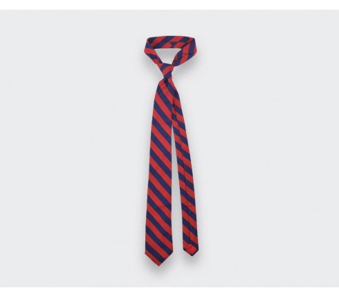Red stripe herringbone tie - cinabre paris