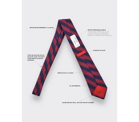 Burgundy stripe herringbone tie - cinabre paris