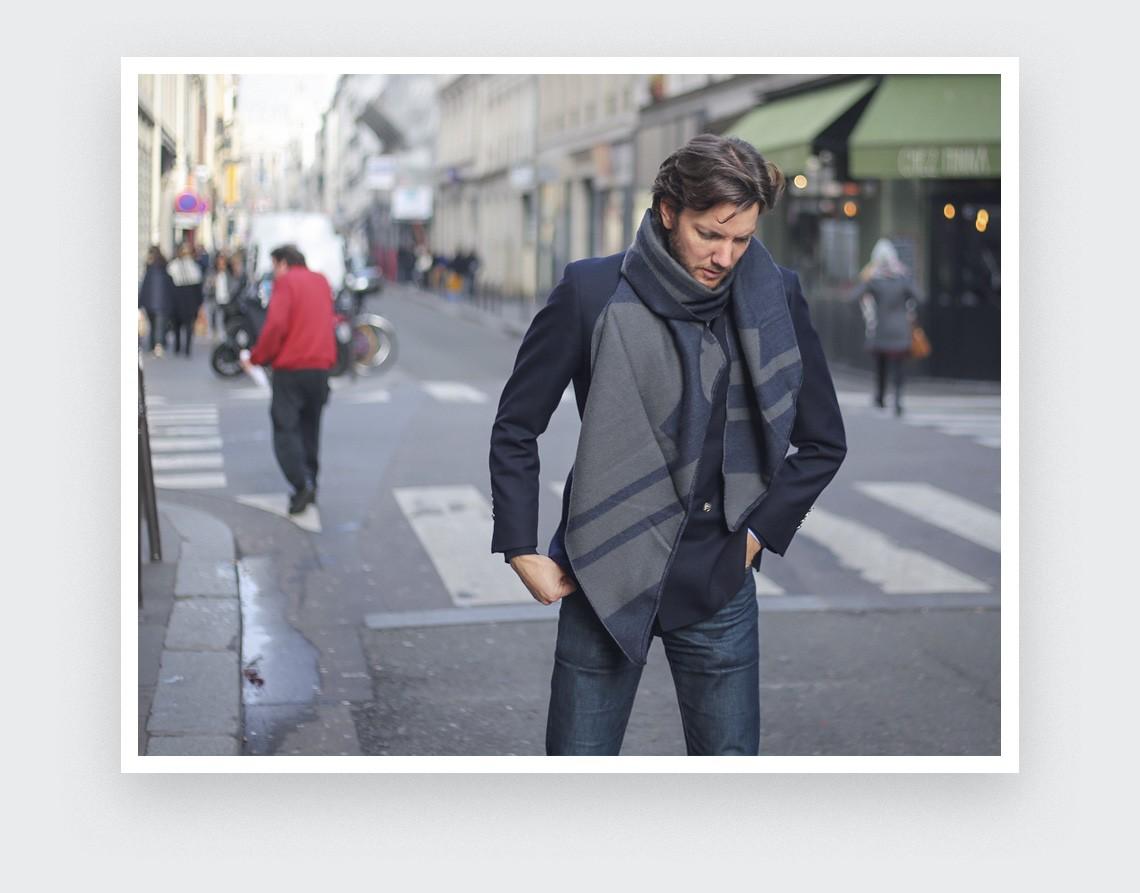 Grey navy blue scarf Paris by Cinabre