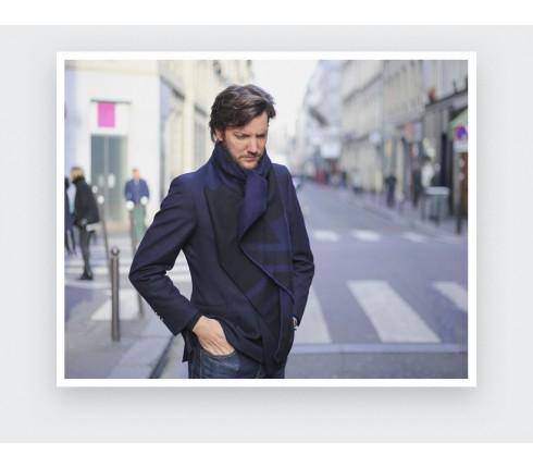 Écharpe bleu nuit Paris par Cinabre