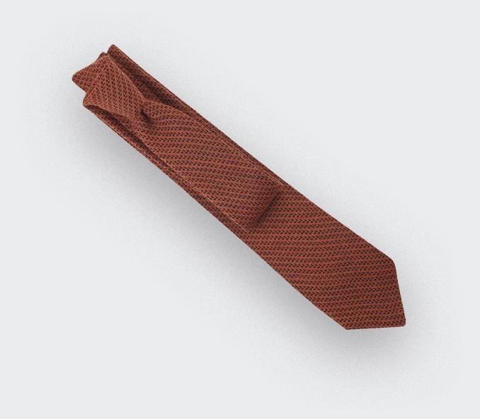 cravate chevron bi couleur orange - cinabre paris