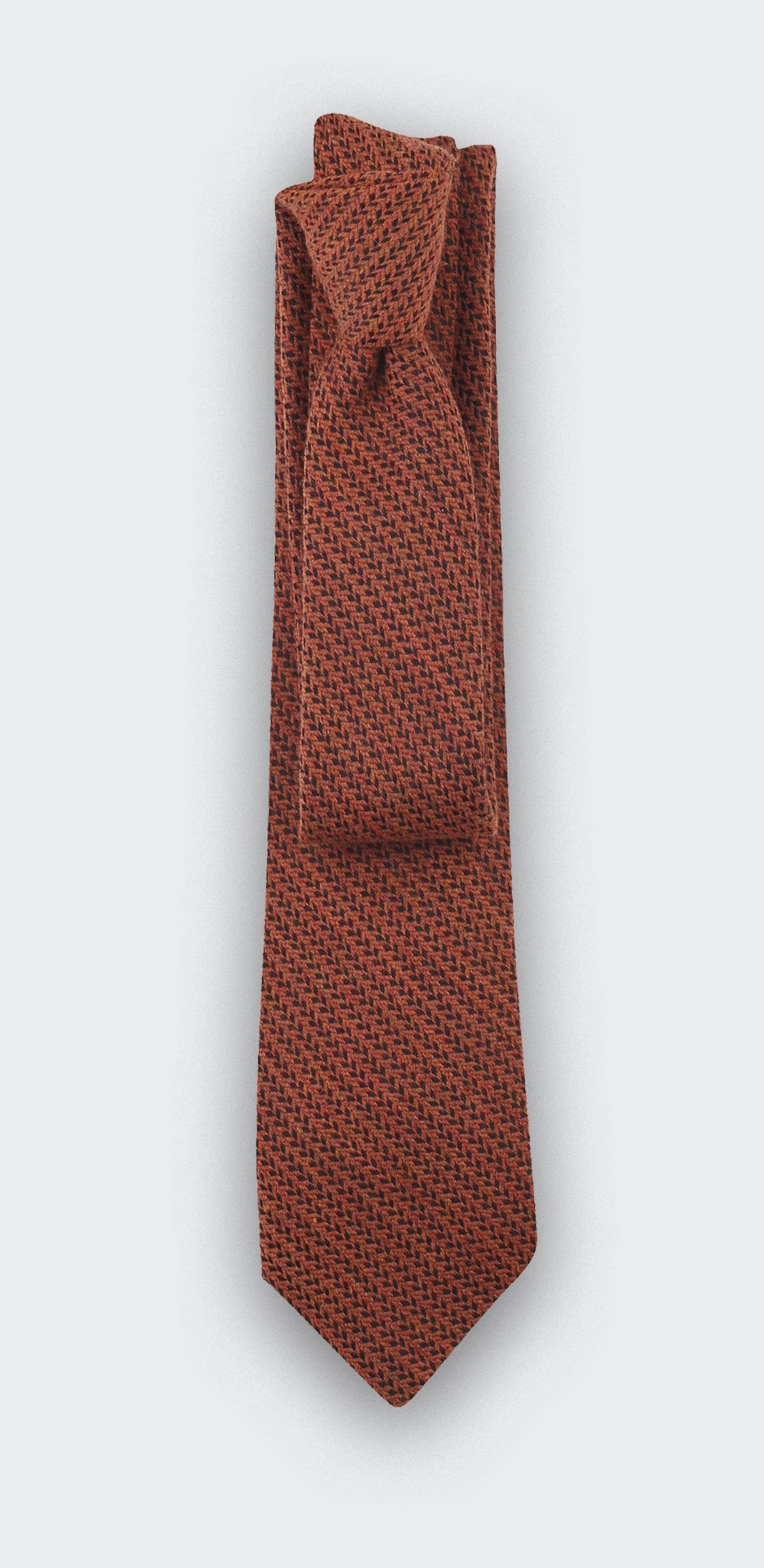 orange herringbone bi color tie - cinabre paris