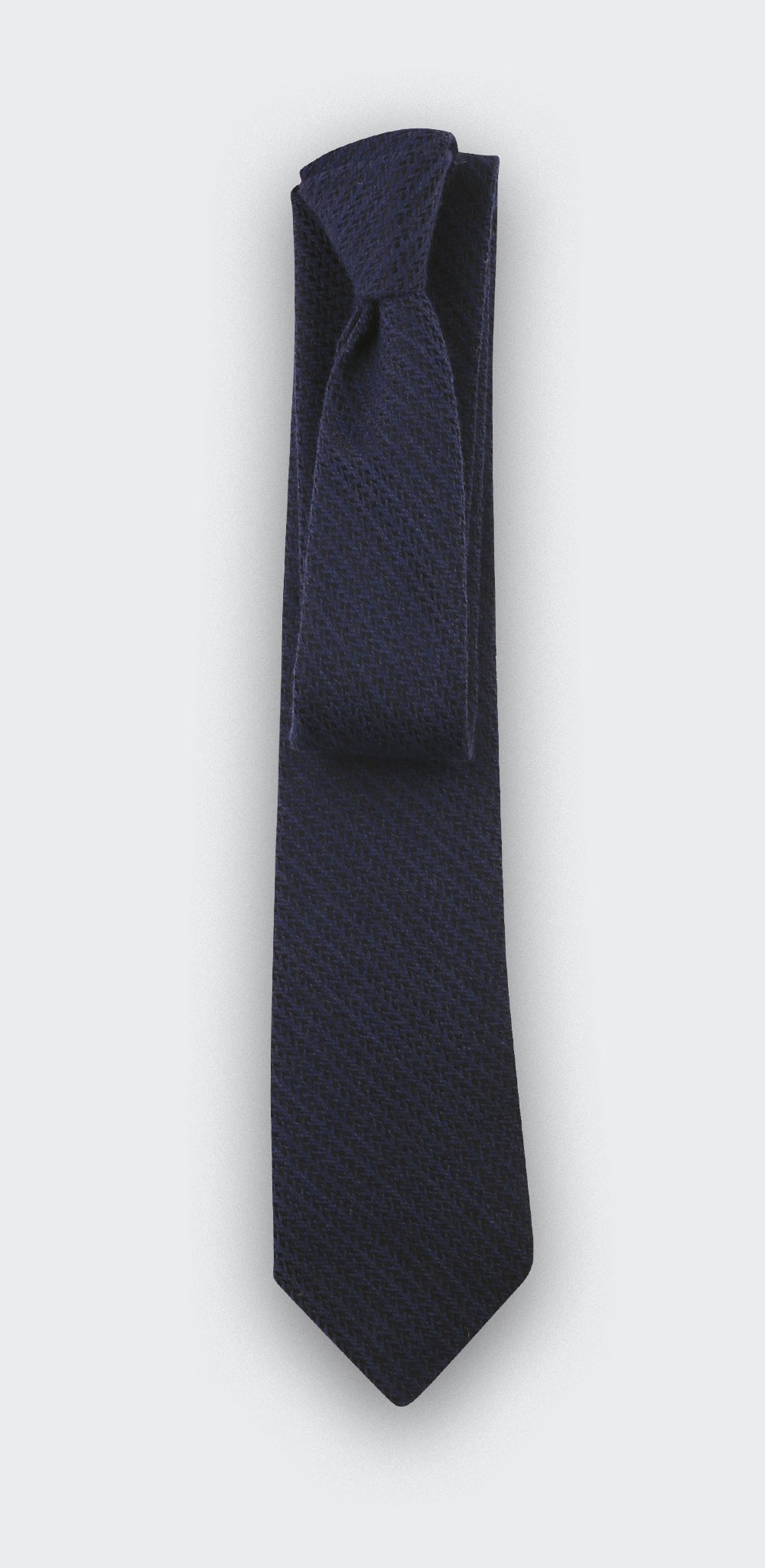 Navy Blue two-tone herringbone tie - cinabre paris