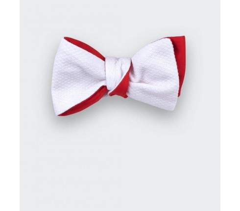 Cinabre white cotton piqué bow tie - handmade in France