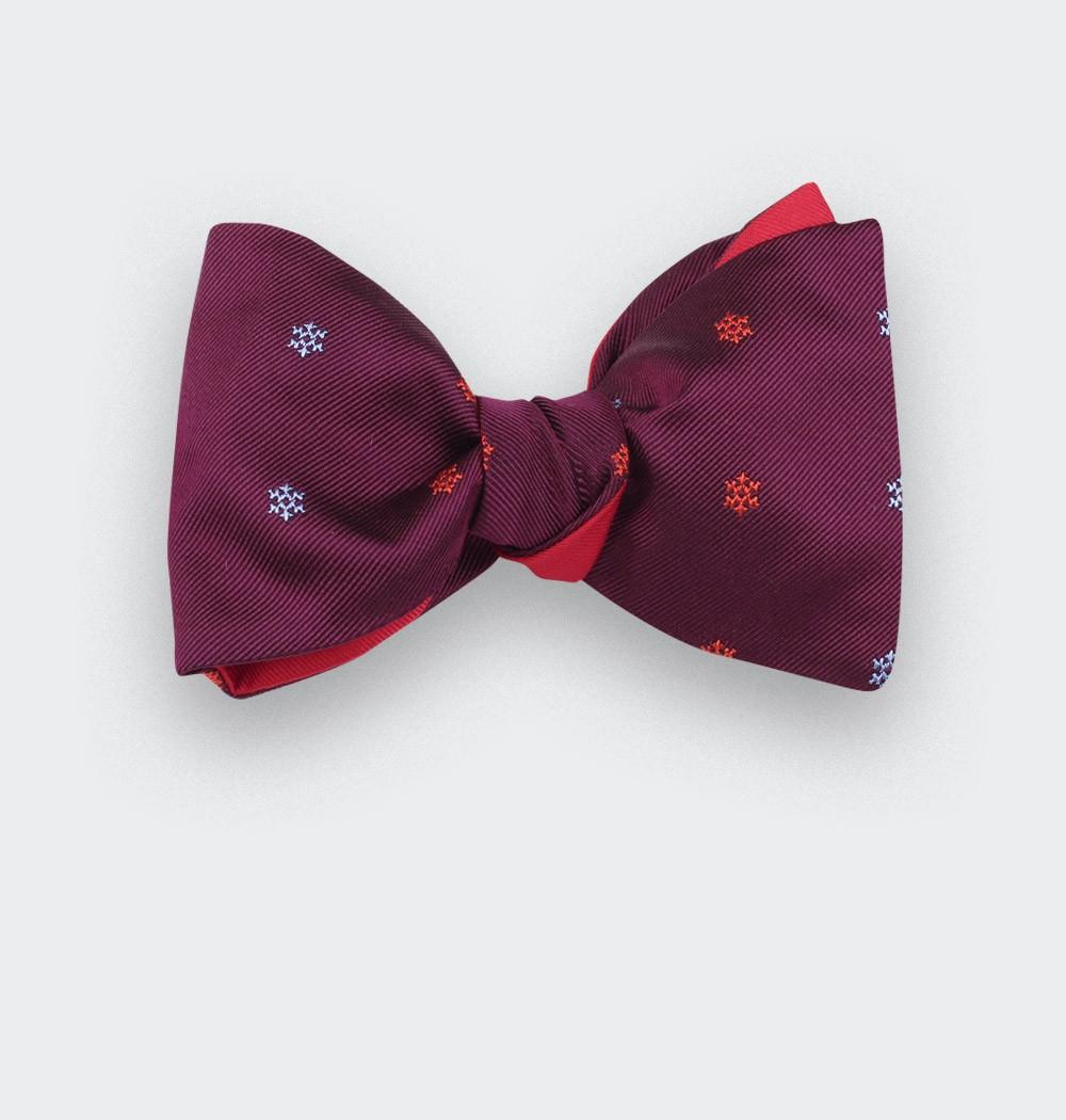 Burgundy snowflakes bow tie - cinabre paris