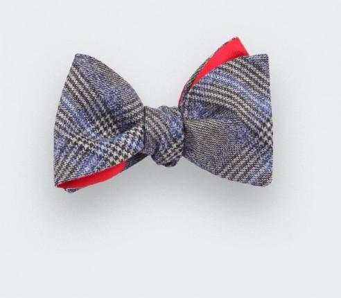 Blue glen plaid bow tie - cinabre paris