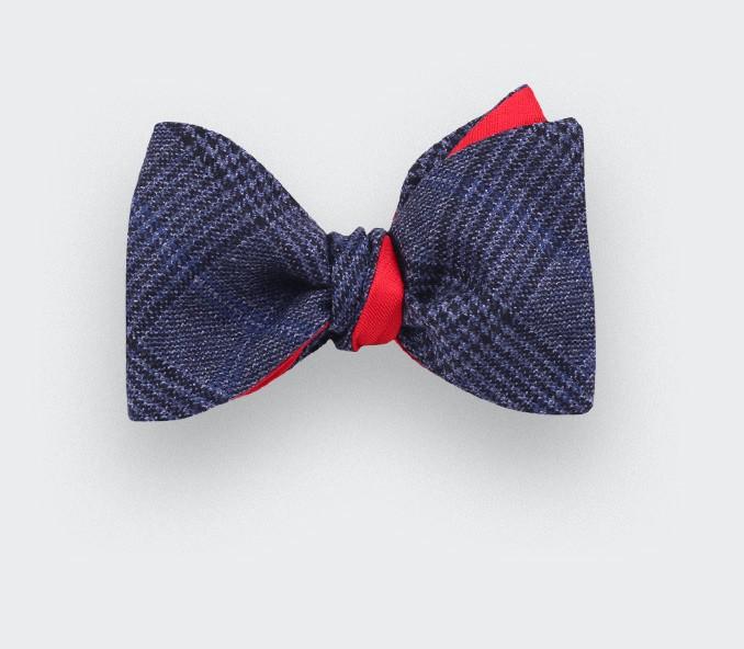 Navy Blue glen plaid bow tie - cinabre paris