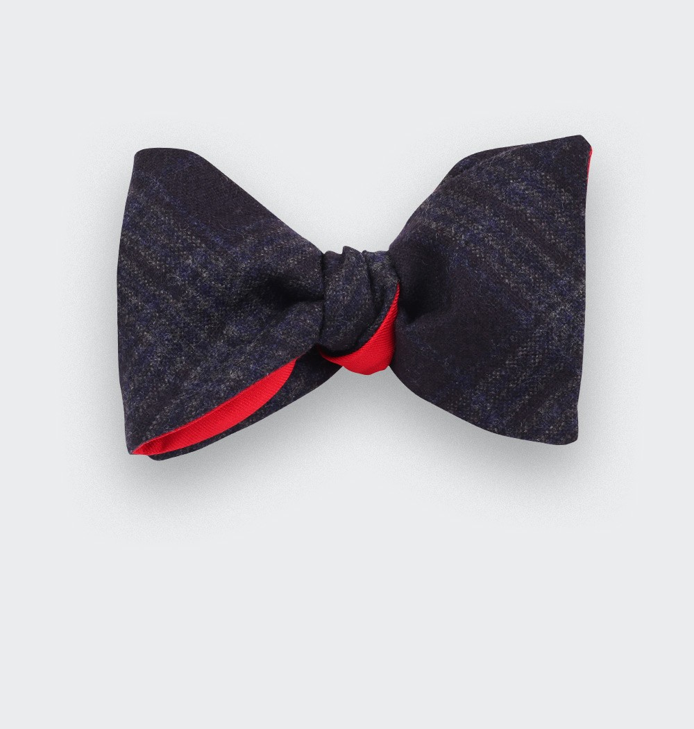 Dark blue glen plaid bow tie - cinabre paris