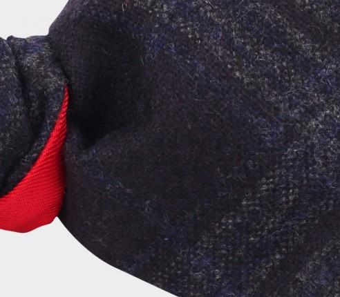 Dark blue glen plaid bow tie - cinabre paris