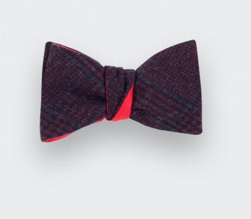 Burgundy glen plaid bow tie - cinabre paris