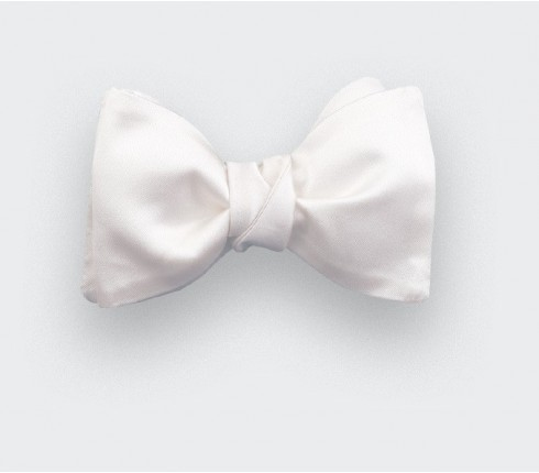 White twill Bow Tie - cinabre paris