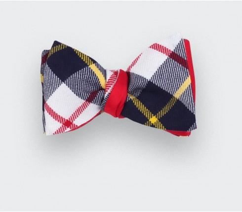 White Macrae tartan bow tie - cinabre paris