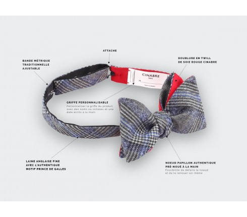 Blue glen plaid bow tie - cinabre paris
