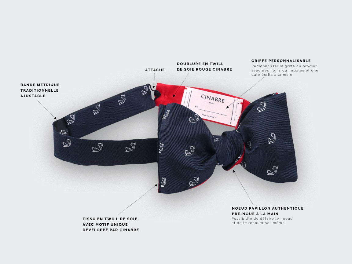 Navy blue ice skate bow tie - cinabre paris