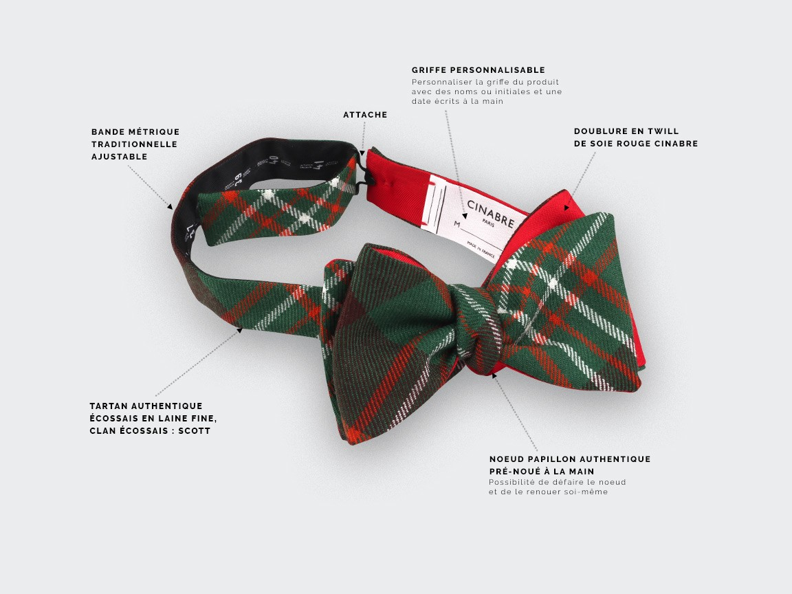 Green scott tartan bow tie