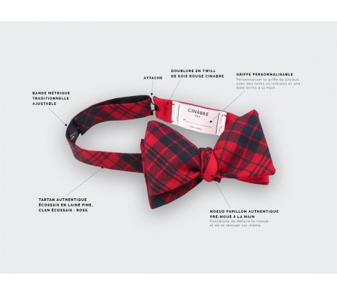 Noeud papillon tartan rouge ross - cinabre paris