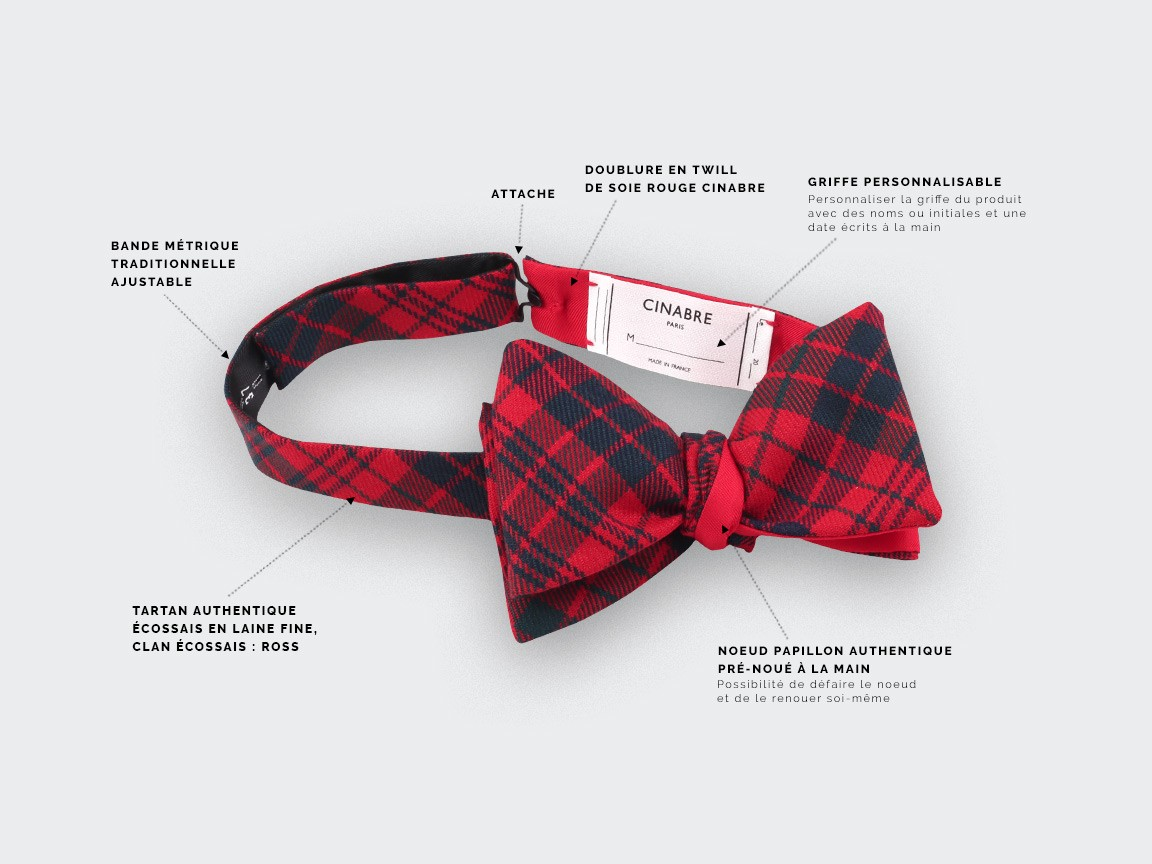 Red Ross tartan bow tie - cinabre paris