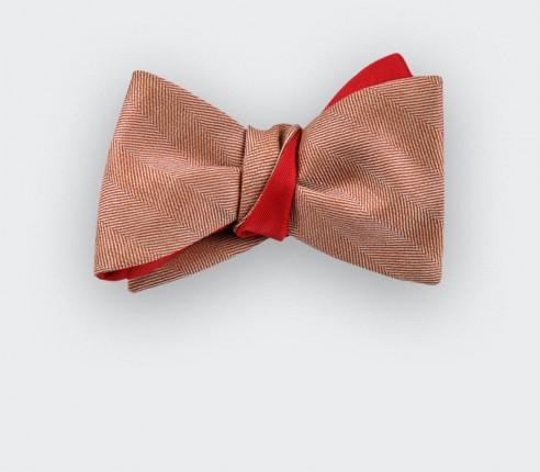 Coral Herringbone Bow Tie  - cinabre paris