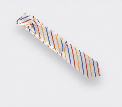 Multicolour Seersucker tie - cinabre paris