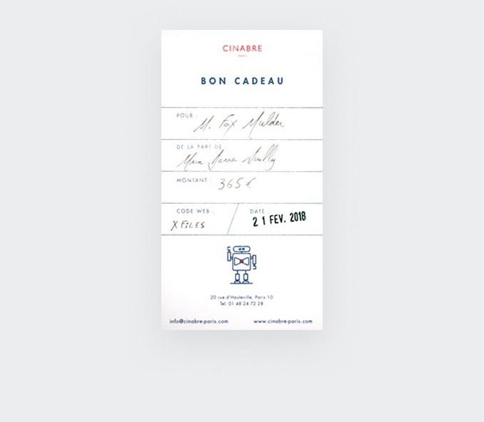Noeud papillon - carte cadeau 95euros - Cinabre