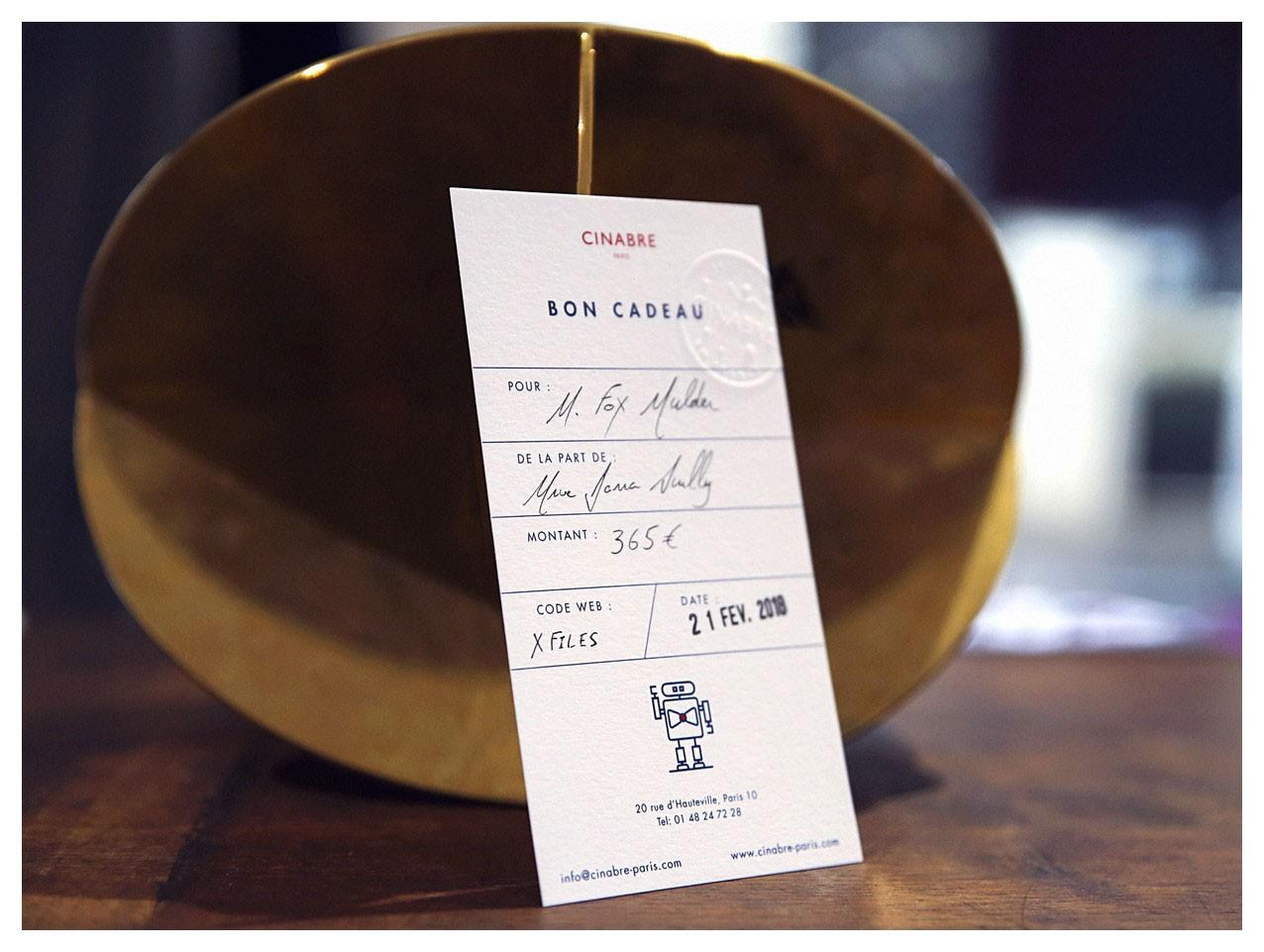Tie - gift card 115euros - Cinabre Paris