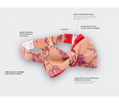 pink flower bow tie - silk - cinabre paris