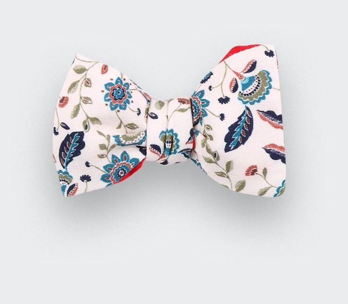 white flower bow tie - silk - cinabre paris