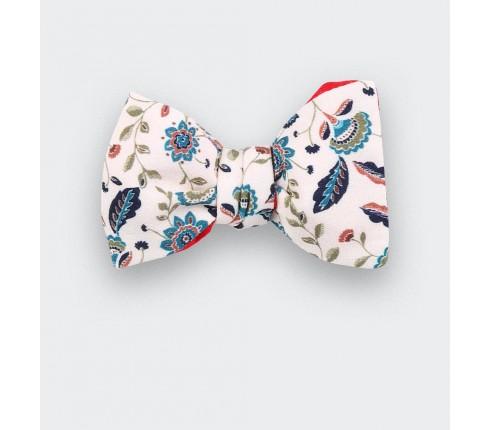 noeud papillon fleuri blanc - soie - cinabre paris
