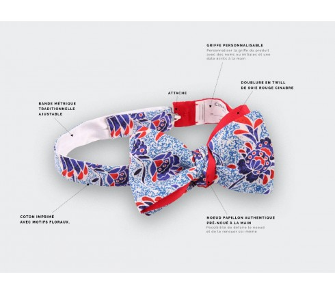 multico flower bow tie - cotton - cinabre paris