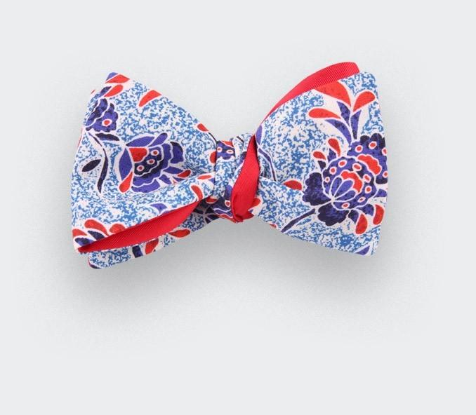 noeud papillon fleuri multico - coton - cinabre paris