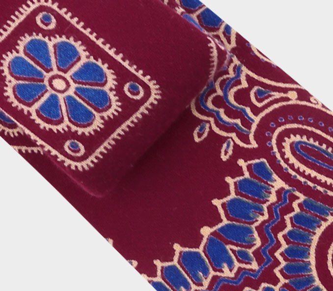 Cravate Bandana Bordeaux Bleu