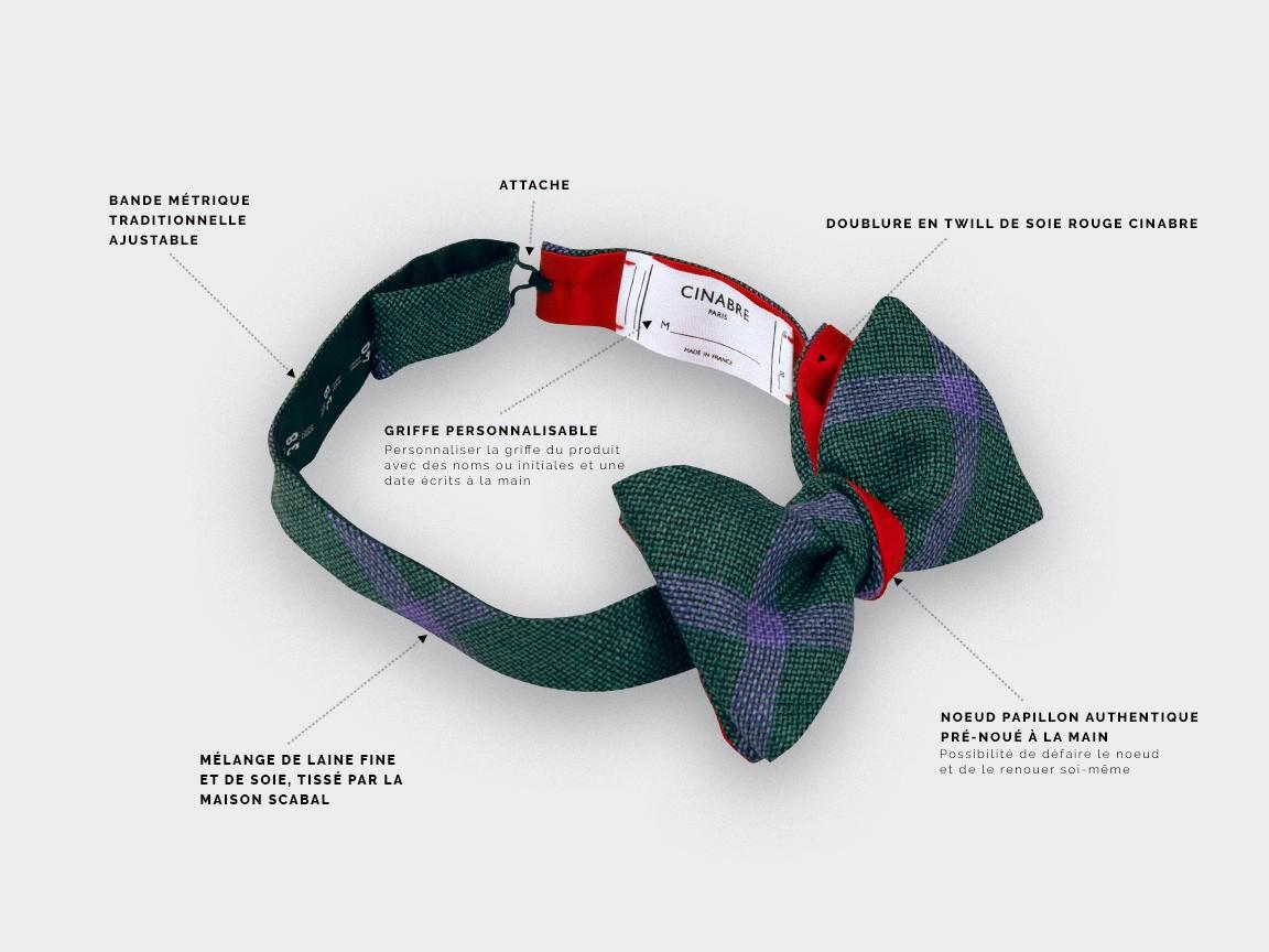 Spérone Green Bow Tie - wool and silk - Cinabre Paris